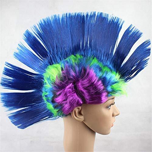 Partij van het Kostuum Cosplay Pruiken Kam haar pruiken Mohawk Bar Funny Dance Show Props Wig themafeest Wig (Color : Blue)
