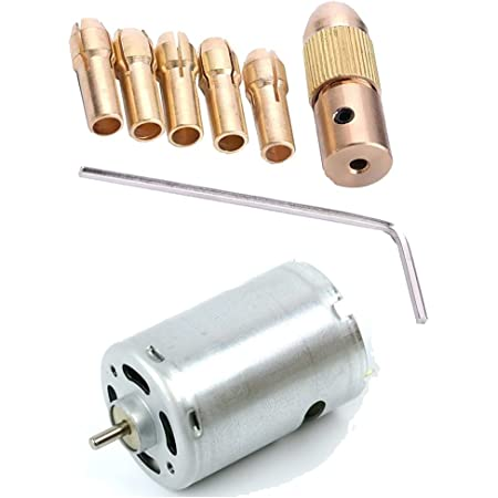 RIVER FOX Combo of 7pcs 0.5-3mm Metal Drill Chuck Collet bits Keyless Adapter with Wrench and 1 12volt DC Motor