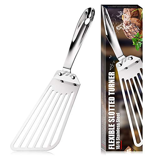 KSENDALO Fish Spatula Stainless Steel, 12.6' Flexible Stainless Spatula With Long Wide Blade, Support Easier for Flipping, Frying & Grilling, Silver(Style 1)