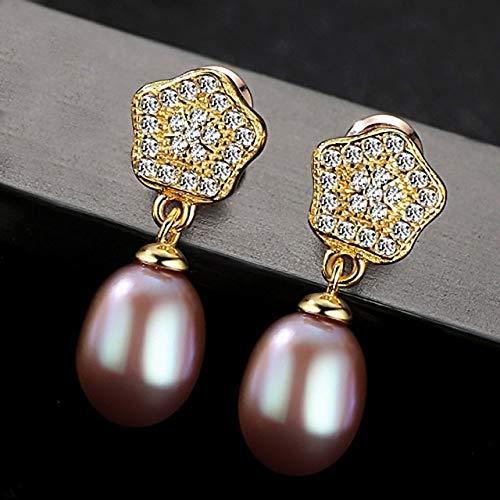 DJMJHG Pendientes de Perlas de Plata esterlina 925 para Mujer, Pendientes Colgantes de Perlas, joyería de Moda, cumpleaños3