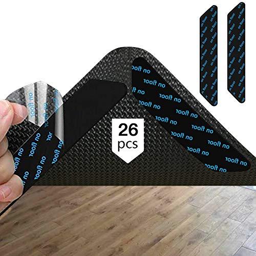 AMOE Carpet Gripper - Alfombrilla antideslizante (26 piezas, lavable y reutilizable, capa inferior, fuerte adhesión, agarre antideslizante para suelos de madera dura)