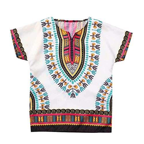 YWLINK NiñO NiñA T Shirt Manga Corta Tops De Camiseta De Estilo éTnico De Estilo Africano Masculino Y Femenino Mezcla De AlgodóN CóModo Fiesta Rendimiento Vacaciones Diarias