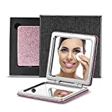 OMIRO Compact Mirror, Glitter PU 1X/3X Magnification, Unique Ideas for Women Birthday Gifts (Pink)
