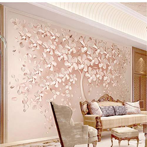 Papel tapiz mural 3D estéreo flor árbol pintura de pared sala de estar TV sofá dormitorio pared de fondo-L