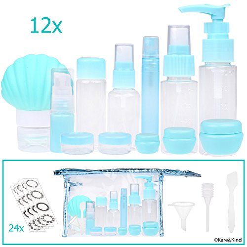 Travel Bottle Set - Refillable - TSA/Airline Approved - 12 Bottles and Jars - 3 Tools (Pipette, Funnel and Mini Spatula) - for Downsized Portions of Your Favorite Cosmetics, Lotions and Creams