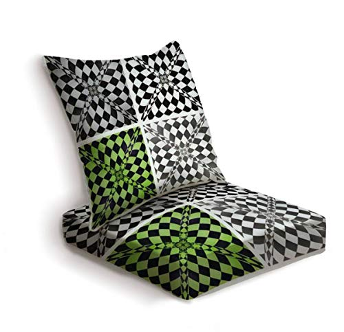ONENPENRI 2-Piece Outdoor Deep Seat Cushion Set Abstract Checkered Background Set Vector eps10 Back Seat Lounge Chair Conversation Cushion for Patio Furniture Replacement Seating Cushion