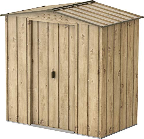Duramax Top 6 x 4 Storage, Maintenance-Free & Weatherproof Metal Garden Shed, Woodgrain & Brown Trimmings, Woodgrain/Brown