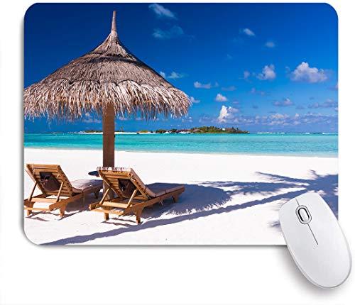 Dekoratives Gaming-Mauspad,Zwei Stühle und Sonnenschirm am Strand mit Schatten von Palme,Bürocomputer-Mausmatte mit rutschfester Gummibasis