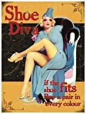 GNKJYY-T Shoe Diva. If the shoe fits, buy a pair in every colour. Funny sexy pin up, 20's 30's style. For house, home, shoe shop, bedroom, kitchen. Imán de refrigerador