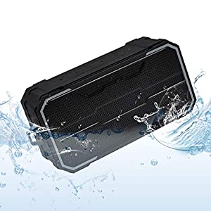 Portable Bluetooth Speaker, IPX6 Waterproof Wireless Speaker with 10W HD Stereo Sound, Rich Bass, 10H Playtime, Built-in Mic and AUX/SD Input for Shower, Pool, Outdoor, Travel