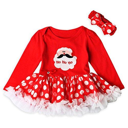 Amlaiworld Ropa Bebé, Bebé recién Nacido niñas Princesa Santa Claus tutú Vestido Conjuntos de Trajes de Navidad 0-24 Mes (Tamaño:0-6Mes, Rojo)