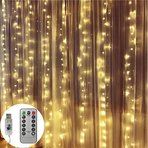 LED Gordijn Lights, 300 Leds, 3M × 3M Kerstverlichting, 8 modi Icicle verlichting met afstandsbediening Outdoor Wedding Party Kerst Garden Bedroom Decor,White