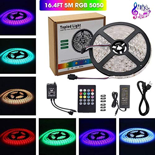 Music Led Strip Light,Topled Light IR Music Sound Activated 5M 5050 RGB Waterproof 300LEDs RGB Flexible Color Changing LED Strip Kit with 20-key Music Sound Sense IR Controller + 12V 6A Power Supply