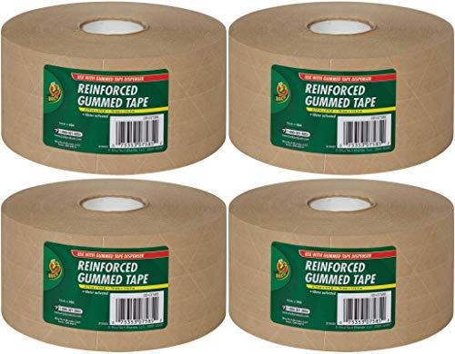 Duck Fiberglass Reinforced Gummed Kraft Paper Tape, Water Activated, 2.75 Inches x 375 Feet (964913) 4 Pack