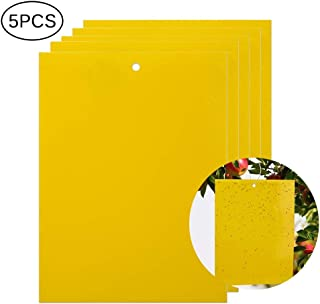 MOGOI Yellow Sticky Fly Traps,Fly Paper Stickers,Sticky Fly Catchers Dual-Side or Plant Insect Like Aphids, Fungus Gnats, Leaf Miners and White Flies,5 Packs (5x8 Inches, Twist Ties Included)