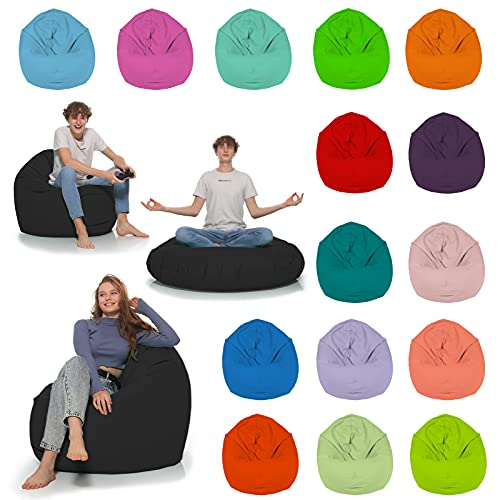 HomeIdeal - Sitzsack 2-in-1 Funktionen Bodenkissen für Erwachsene & Kinder - Gaming oder Entspannen - Indoor & Outdoor da er Wasserfest ist - mit EPS Perlen, Farbe:Schwarz, Größe:130 cm Durchmesser