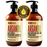 Moroccan Argan Oil Shampoo and Conditioner SLS Sulfate Free Organic Gift Set - Best for Damaged,...