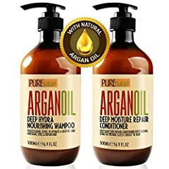 MOROCCAN ARGAN OIL SHAMPOO AND CONDITIONER SET: Hydrates and restores moisture levels. Safe and Healthy for Colored & Keratin Treated Hair. Contains a UV and Thermal Protectant with Vitamins and Antioxidants, that Nourish and Repair hair from daily u...