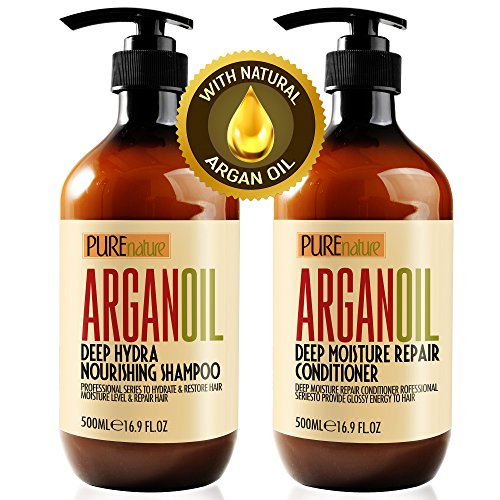 Moroccan Argan Oil Shampoo and Conditioner SLS Sulfate Free Organic Gift Set  Best for Damaged Dry Curly or Frizzy Hair  Thickening for Fine/Thin Hair Safe for Color and Keratin Treated Hair