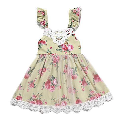 Vestido de festa infantil para bebês meninas, floral, renda, tutu, formal, vestido de verão