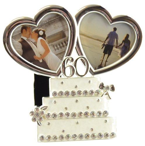 Juliana cornice torta nuziale placcati argento con doppia Hearts–60