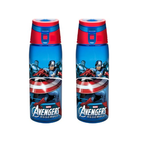 Zak! Designs Tritan Water Bottle with Flip-top Cap with Avengers Assemble Graphics, Break-resistant and BPA-Free Plastic, 25 oz., Set of 2 by Zak Designs