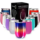 CHILLOUT LIFE 12 oz Stainless Steel Tumbler with Lid & Gift Box - Wine Tumbler Double Wall Vacuum Insulated Travel Tumbler Cup for Coffee, Wine, Cocktails, Ice Cream - Rainbow Wine Tumbler