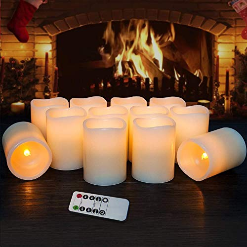 Hausware Flameless Candles LED Candles Set of 12 (D:3' X H:4') Battery Operated Candles Flickering...