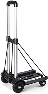 BIKUUL Folding Hand Truck, 4-Wheel Solid Construction Utility Cart with Noiseless Wear-Resistant for Luggage, Personal, Tr...
