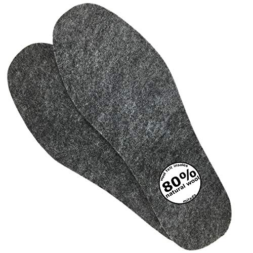 Adult Wool Felt Warm Insoles, Winter Heated Shoe Insoles,Natural Wool Insoles,Warm Lambs Wool Insoles for Men and Women (Men's 7/Women's 8)