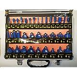超硬ルータービットセット チップ トリマー ルーター ビット径 6.35mm 1/4インチ 15種 電動ルーター用 電動トリマー用 木製収納ケース付き (35PCS)