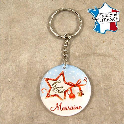 Porte Clef – Joyeux Noël Marraine (Cadeau de Noël pour Marraine - décoration de Sapin)