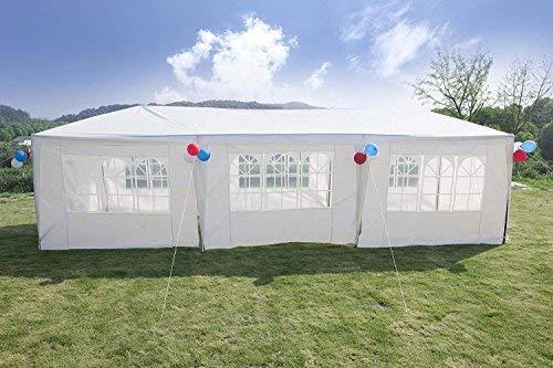 GOJOOASIS Pavillon 3x9 m Wasserdicht Partyzelt mit 8 Seitenwände UV Schutz Weiß Bierzelt&Festzelt, Tür mit Reisverschluss, für Garten Party Hochzeit Picknick Markt
