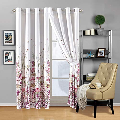 Modern 2 - Piece Printed Grommet Curtain Set Drapes/Window Panels 108 inch Wide X 84 inch Long (Pink, Purple, Sage Green, Floral)