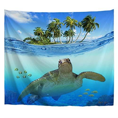 A.Monamour Tapices Submarino Tortuga De Mar Peces Isla Tropical Palmera Naturaleza Paisaje Boho Hippie Mandala Tapicería Tapices Cortina Colcha Toalla De Playa Mantel 180x200cm