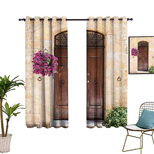 Tuscan Decor Living Room Curtain Image of Rusty Wood Door with Flowers in Italian Town Authentic Nostalgic Building Grommet Top Window Treatment Drapes for Kid's Bedroom 55'x72' Cream Lilac Brown