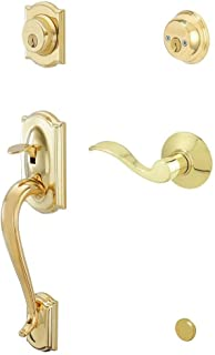 Schlage F62CAM505ACC605RH Camelot Handleset Keyed 2-Sides with Accent Right-handed Lever, Bright Brass