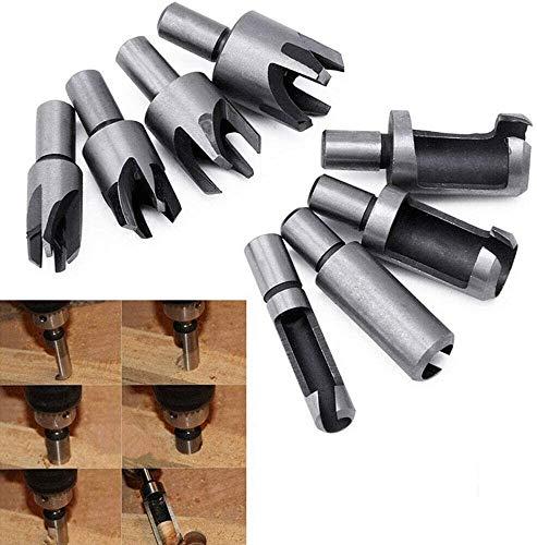 YUET 8pcs Wood Dowel Maker Plug Hole Cutter Tenon Carbon Steel Metric Shank Drill Bit Set 6mm 10mm 13mm 16mm Taper Claw Type HSS Cork for Woodworking Tool