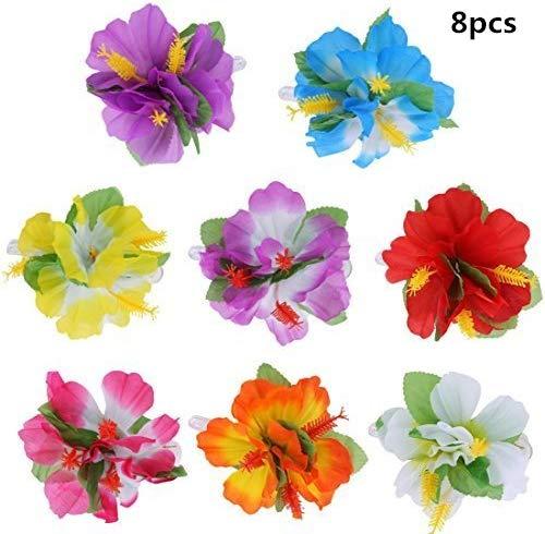Jrancc Bloemen haarspelden Hawaii haar bloemen 8 stuks meerkleurig hibiscusbloesem kostuum accessoires voor strandparty-bruilofts-toevoeging