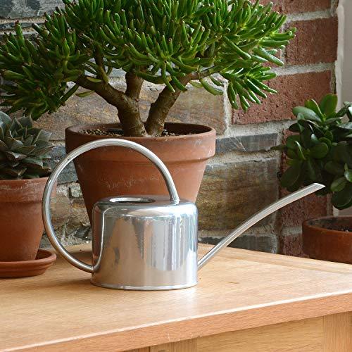 CKB LTD® - Regadera de interior (1,1 L, acero galvanizado, revestimiento en polvo de tiza, para plantas de interior, diseño de metal contemporáneo con boquilla estrecha y mango alto), plata