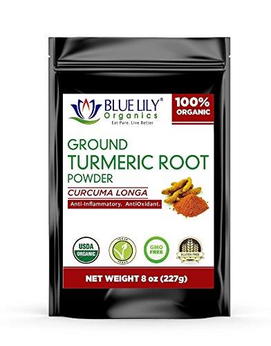Blue Lily Organics Ground Turmeric Root (Curcumin) Powder   Herbal Supplement   Antioxidant & Anti-Inflammatory   Raw Powder from India   Vegan, Non-GMO & Gluten Free   8oz Bag