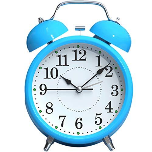 YKW Despertador con Estudiante Sexo Lazy Silencio cabecera del pequeño Despertador Reloj Reloj Niños Niños y niñas de Alarma (Color : Blue)