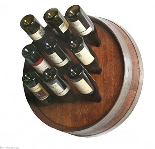 14 Wine Barrel Head Wine Bottle Rack Holds 9 Wine Bottles Wall Mount By Wine Barrel Creations Inc