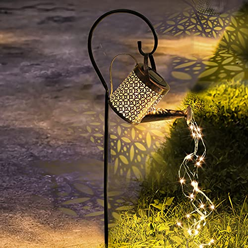 Beewarm Solar Garden Lights Outdoor Solar Powered Waterproof - Lifetime Replacement - Decorative Kettle Art Light Waterproof IP55 with Installed Light String