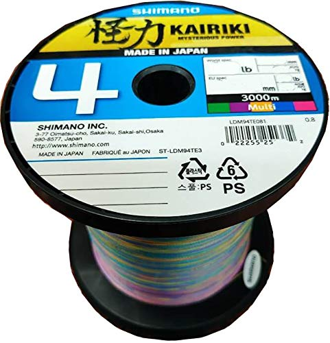 Japan-Shimano Tresse 4 Brins Kairiki 4 Multicolor 3000m - D.0,28mm - R.26Kg - LDM94TE4028030M