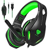 HaiDiKaiSi GH-2 Gaming Headset for Xbox One, PS4, PC, Nintendo Switch, Mac, Laptop with Stereo Surround Sound, Over Ear Gaming Headphones with Noise Canceling Mic & LED Light, Green