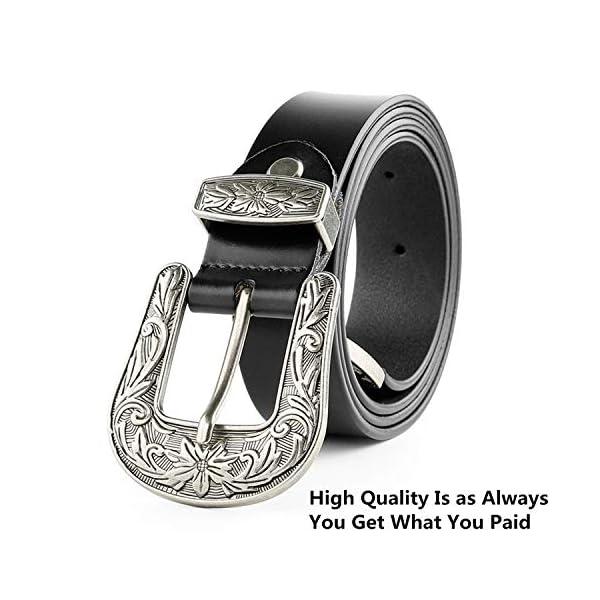 Ladies Vintage Western Design Black Waist Belt 2