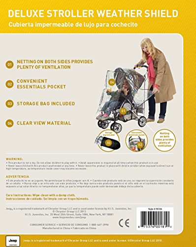 Jeep J90106 Rain Cover for Pushchair with Pouch Jeep Accommodates most stroller makes and models Helps protect child from rain, snow, wind and cold weather Netting on both sides, with snap closures, provides plenty of ventilation 6