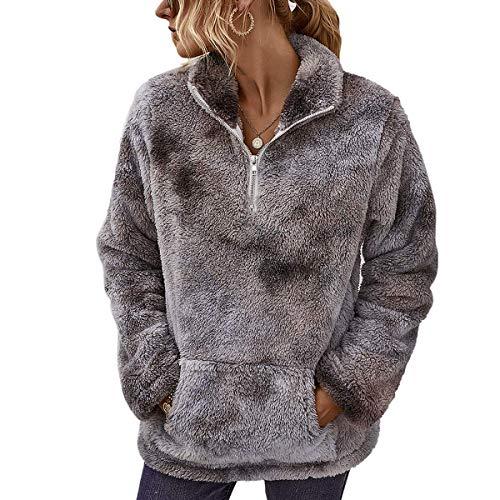 LIVACASA Sweatshirt Damen Winter Warm Hoodie Oversized Weich Mädchen Teddy Fleece Pullover Flauschig Winterpullover Sweater Langarm Pulli mit große Tasche Tiedye Grau L