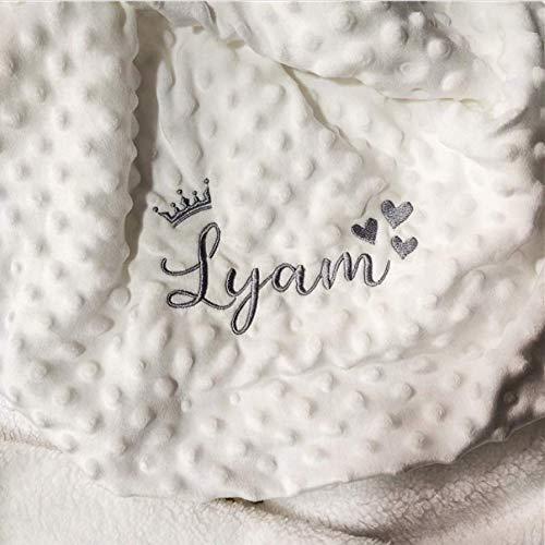 Couverture bébé personnalisée brodée avec prénom et date naissance (Blanc)